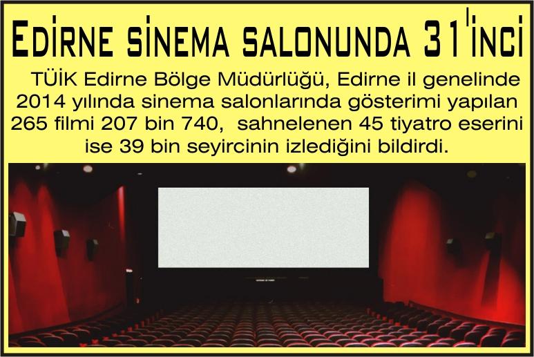 Edirne sinema salonunda 31'inci